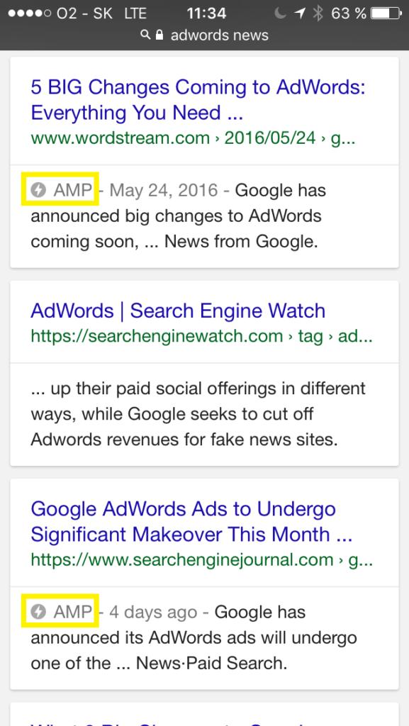 Ukážka AMP vo vyhľadávaní