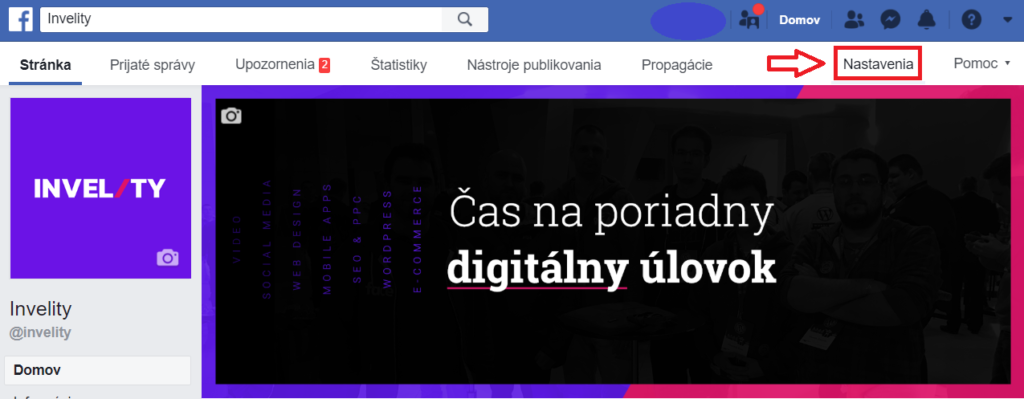 2. krok - FB page