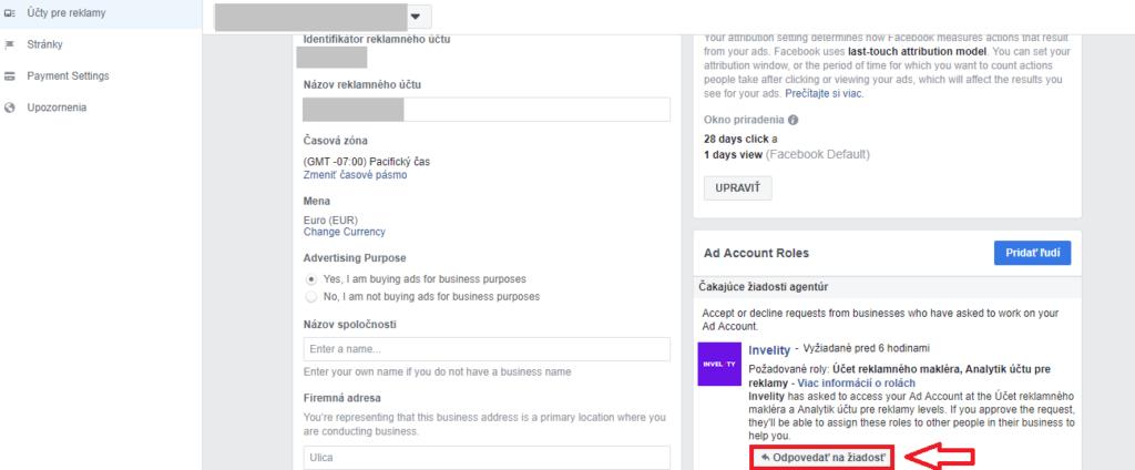 4. krok prístup FB ads