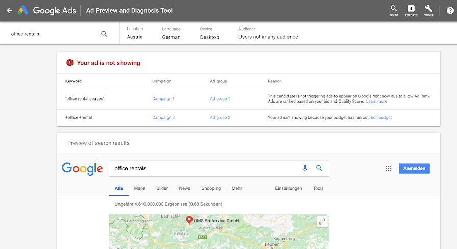 Google ads- diagnostis tool