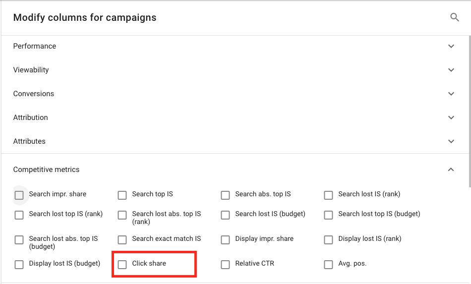 Podiel kliknutí v kampaniach vo Vyhľadávacej sieti