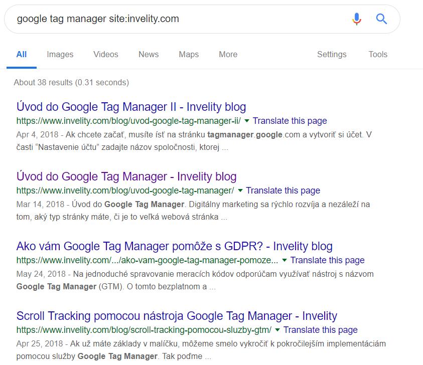 modifikátory vyhľadávania príklad