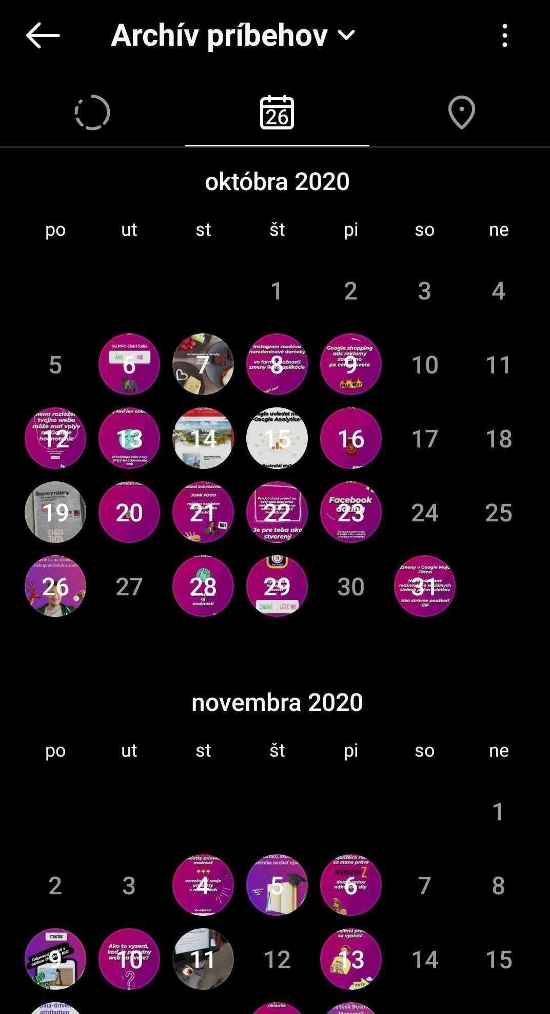 Story kalendár na Instagrame