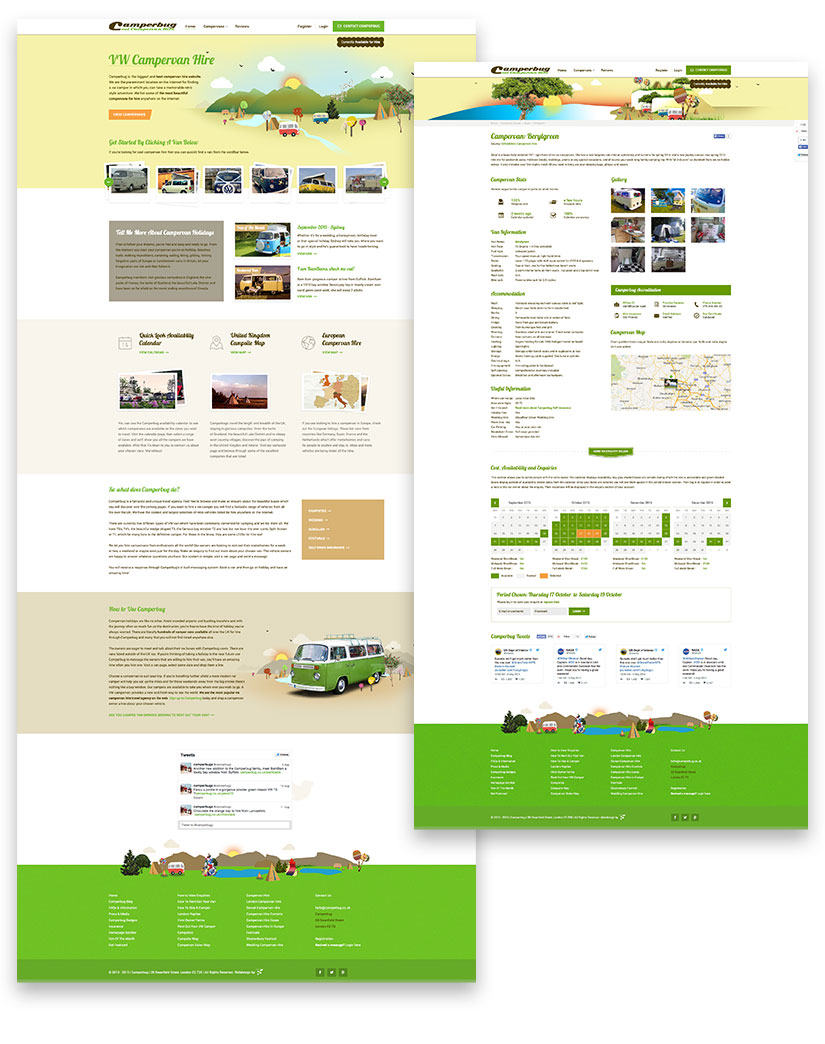 website for camperbug domovska homepage and subpage