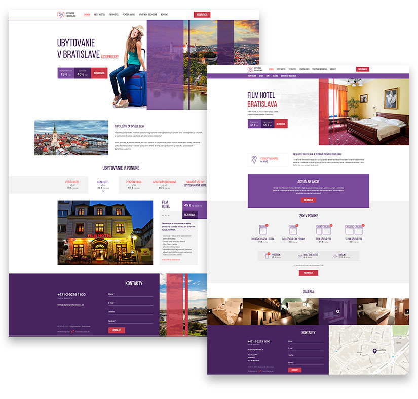 website for accommodation in bratislava homepage and subpage